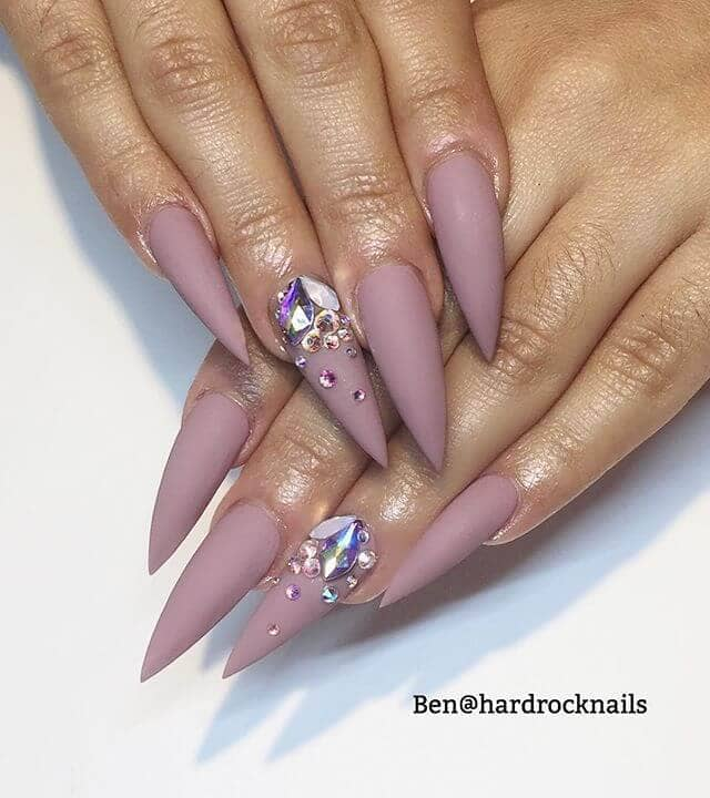 Lilac Mountain Tipped Nails with Diamonds