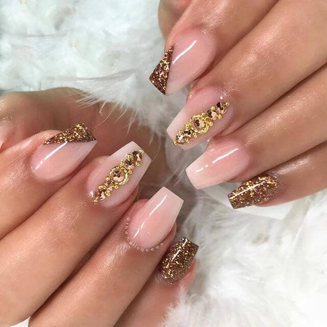 Natural Glossed Nails with Gold Diamond Art