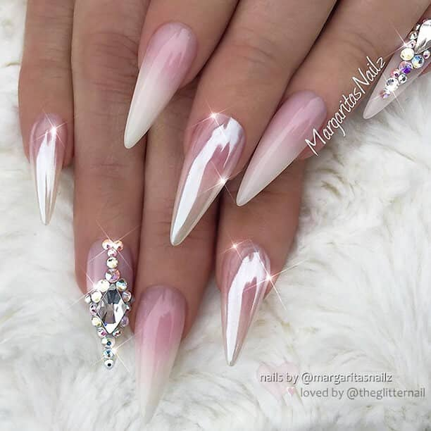 Jeweled Metallic Pink and White Ombre Nails