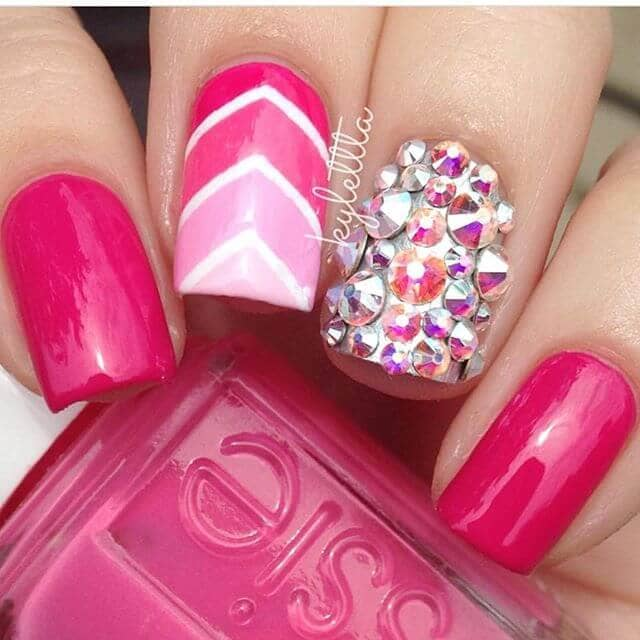 Pink and White Chevron Nails with Diamonds