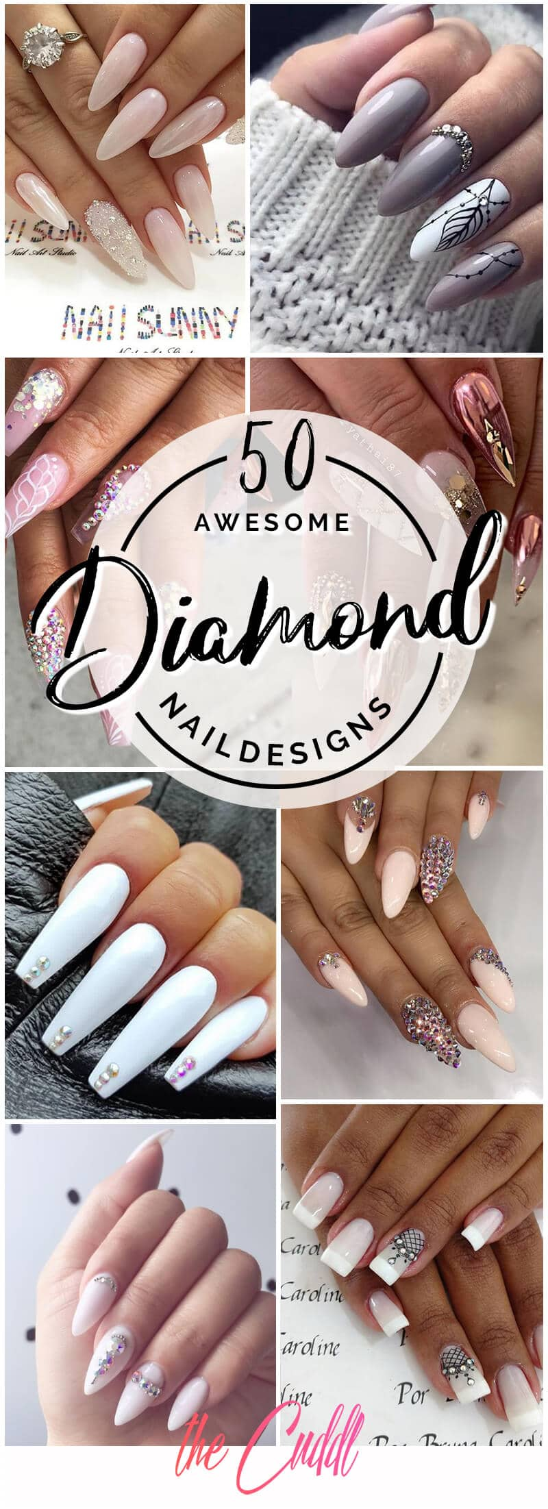 50 Classy Nail Designs with Diamonds that will Steal the Show