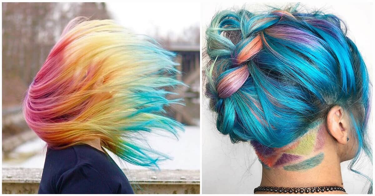 Multi Hair Color Styles: 50 Stunning Rainbow Hair Color Styles Trending In 2019