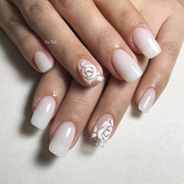 Opaque Nails with Clear Rose Accent