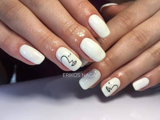 Solid White Nail with Minimalist Artistic Accent Nail