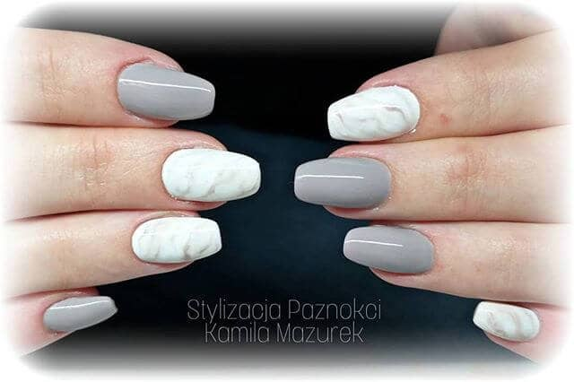 Glossy Gray and White Marbling