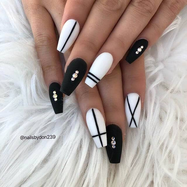 Classic and Chic Black and White Nail Art