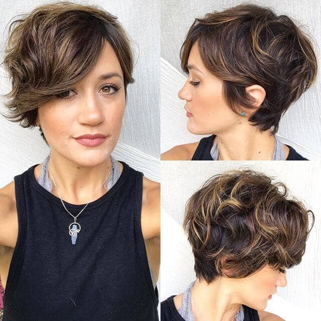 Cute Side-swept and Highlighted Shaggy Pixie