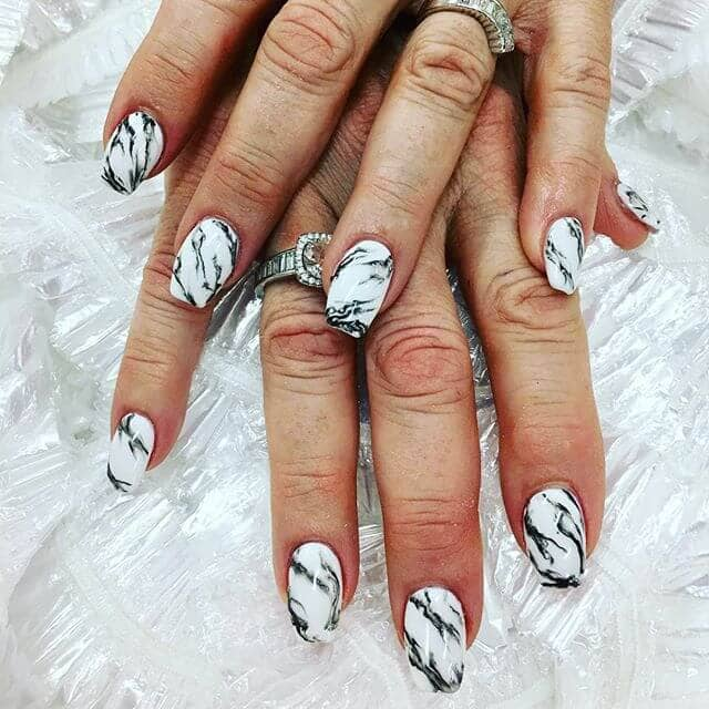 Black and White Marbled Nail Art