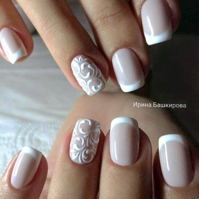 Pretty French Manicure with a Romantic Accent