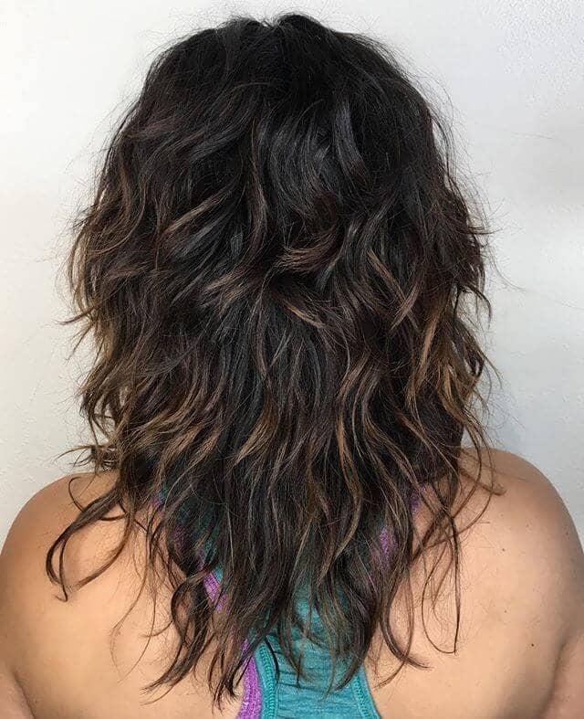 Sun-kissed Brunette Curls in Shaggy Tiers