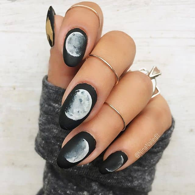 Lunar Themed Black and White Nail Art