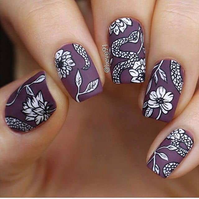 Artistic Black and White on Matte Plum
