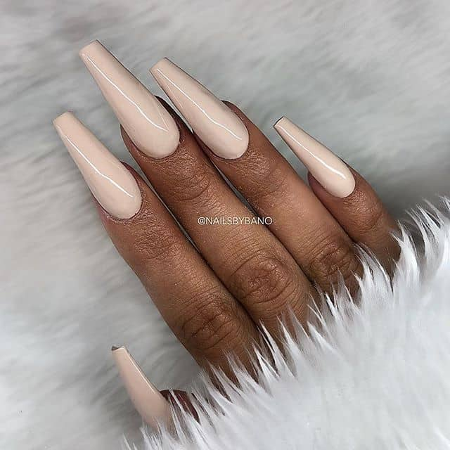 Pale Pink Tapered Nails with Ballerina Tips