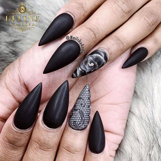 Blunt Matte Black Tapered Nails with Accents