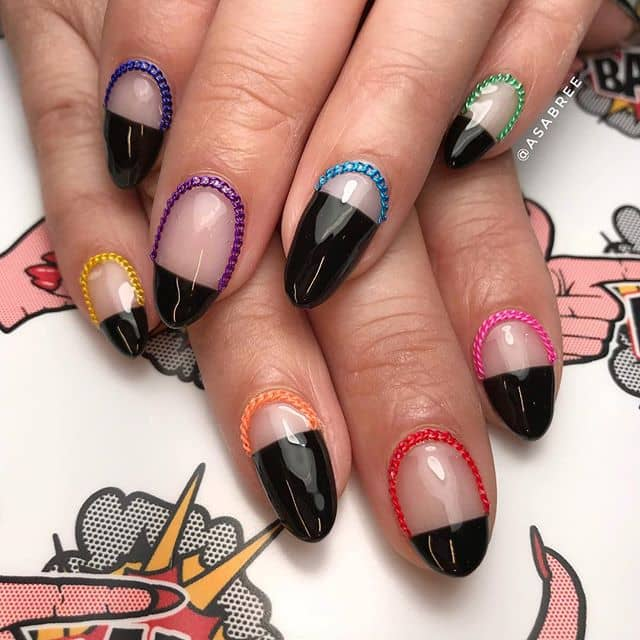Colorful Borders and Cool 3-D Nail Art Chains