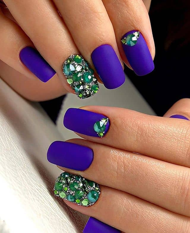 Matte Iris Nails with Emerald Accents