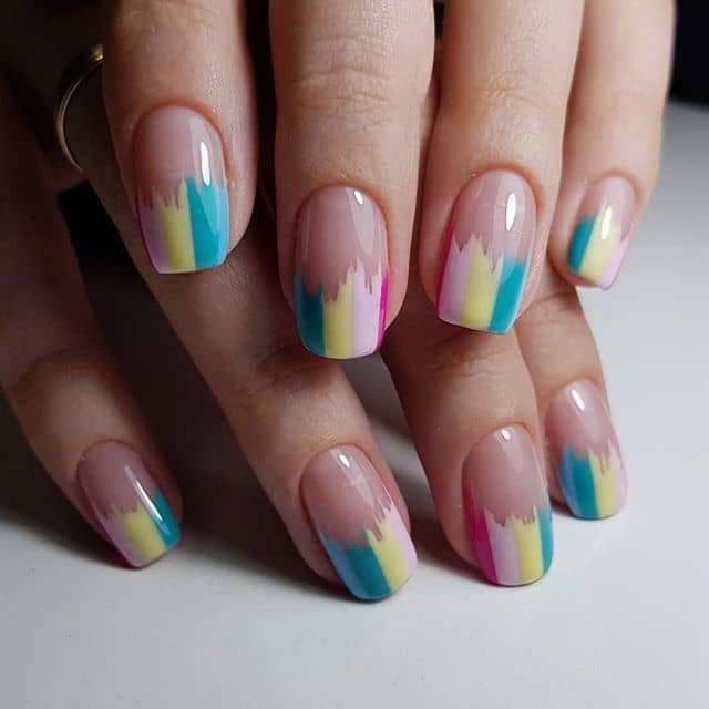 Natural Nails with Colorful Striped Tips