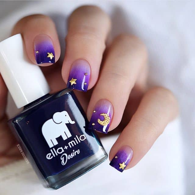 Cute Gold Stars over Purple Ombre Sky