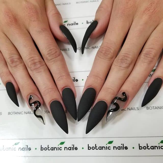 Matte Black Nails with a Snake Accent