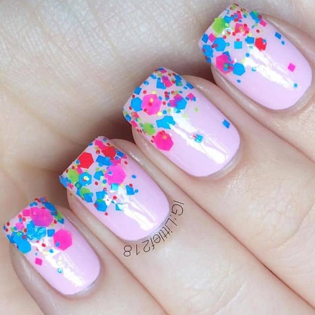 Sweet Confetti Dipped Pink Party Nails