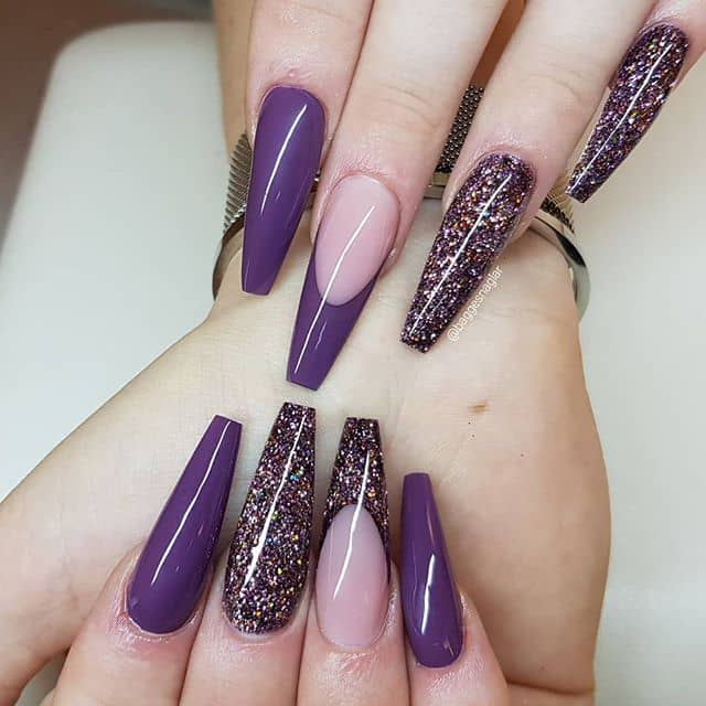 Plain Plum and Dark Dramatic Glitter Nails