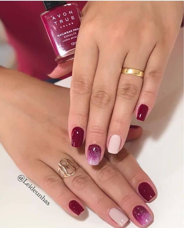 Raspberry Delight Ombre and Nude Accent Nail Design