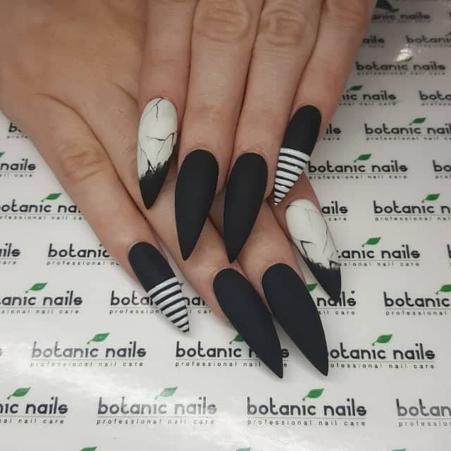 Matte Black Tapered Nails with Fierce Accents