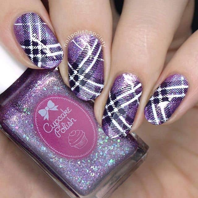 Cute and Classic Plaid over Glittery Purple
