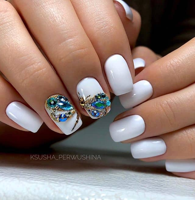 Clean White Nails Embellished with Dragonfly Dreams