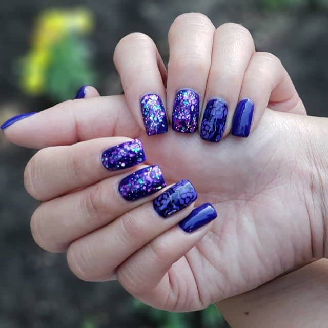 Gorgeous Dark Multi-Designed Purple Nail Art