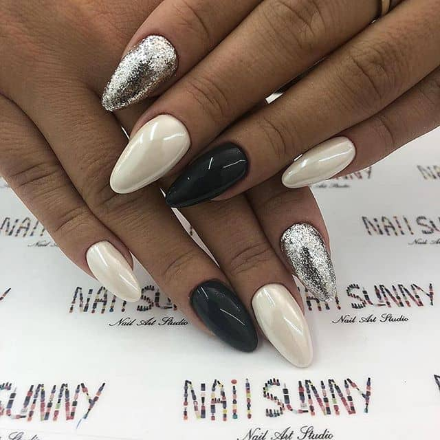 Black, White, and Silver Almond Nails