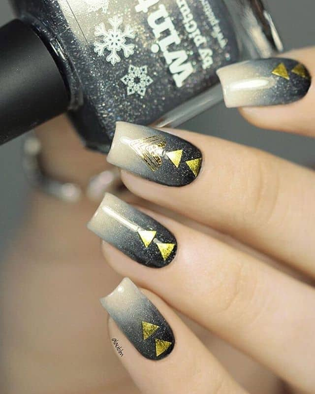 Squoval Arrowhead Black and Gold Nails