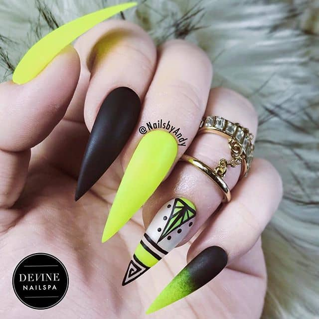 Artsy Matte Black and Yellow Stiletto Nails