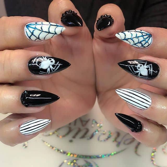 Fun and Witchy Stiletto Nails