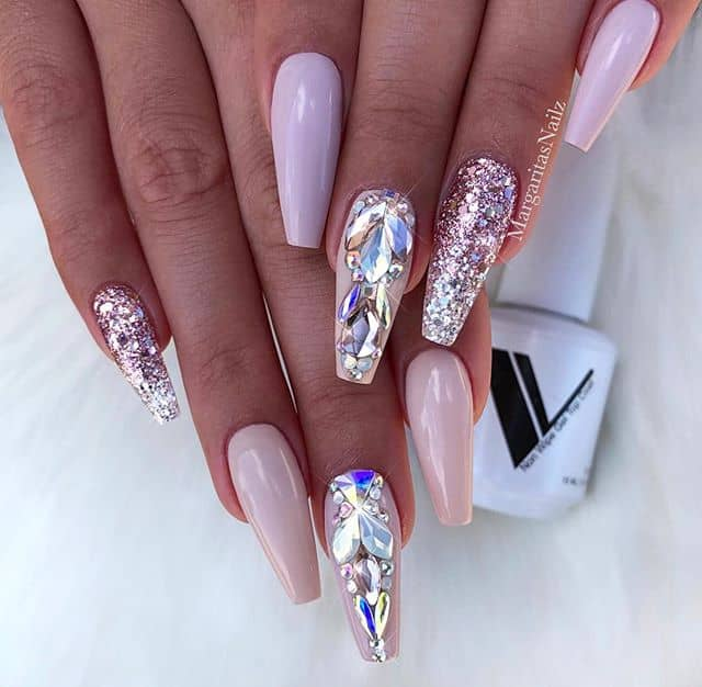Pale Pink Nails with Gems and Glitter
