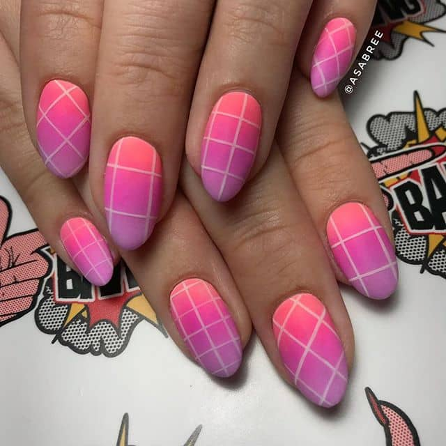 Cool Pink and Purple Plaid Nail Design