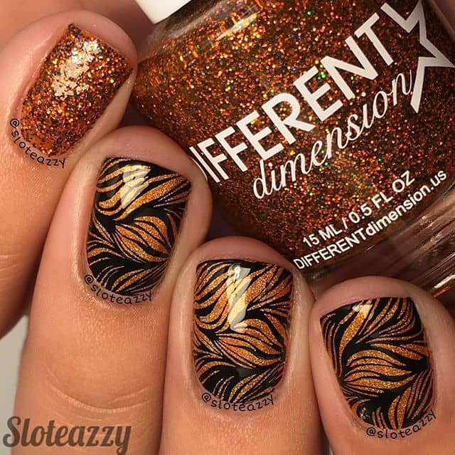 Floral Stamp Nail Art in Glittering Gold