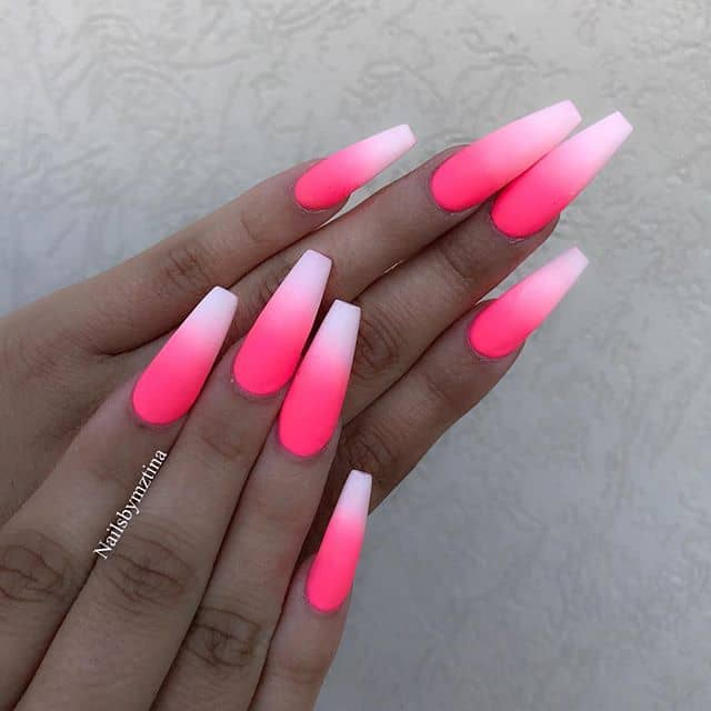 Hot Pink Nails with Cool White Tips