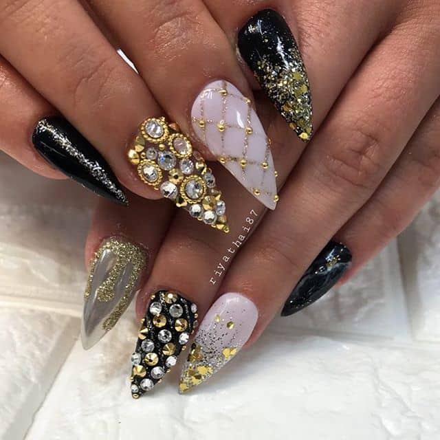 Fancy All-Over Gemstone Nail Art