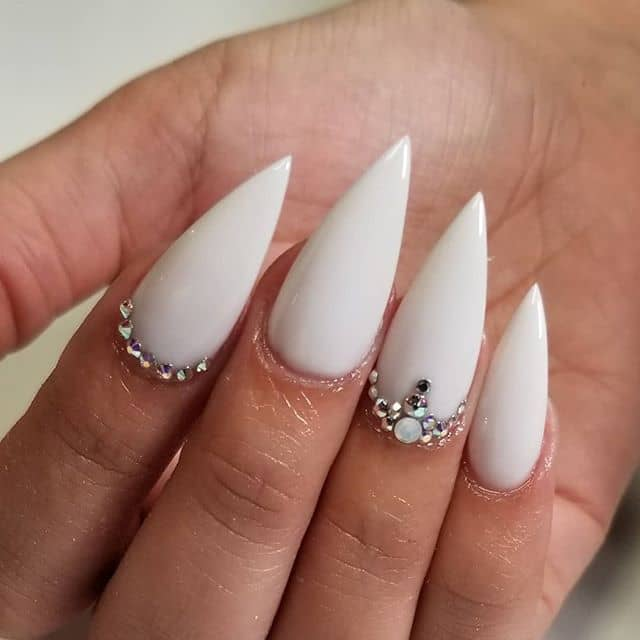 Solid White Tapered Nails with Crystal-lined Cuticles