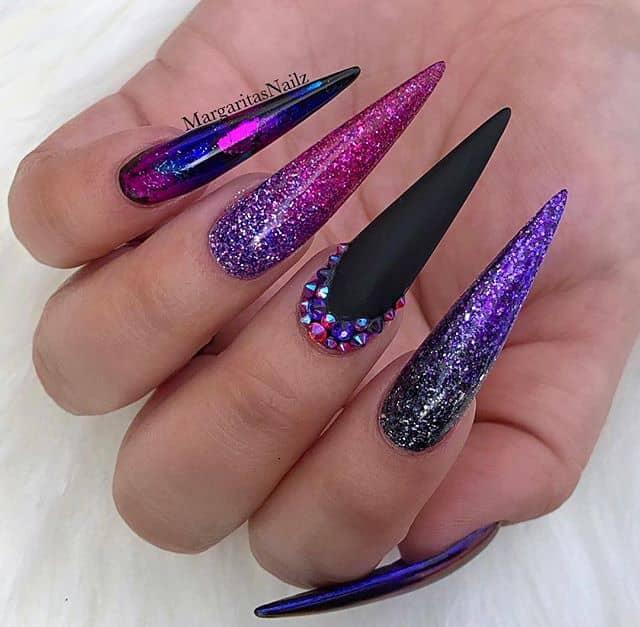 Impactful Mix-and-Match Purple-Themed Stilettoes
