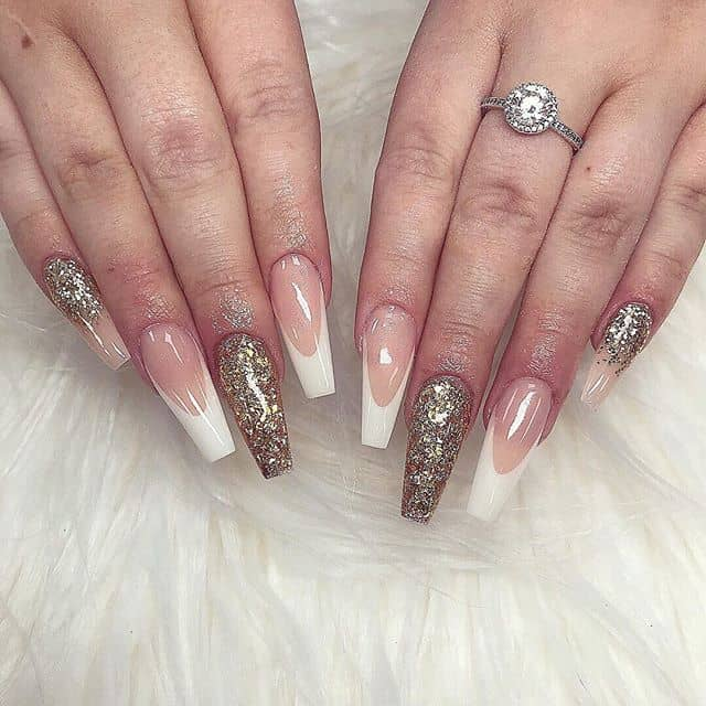 Oblong French Manicure with Glitter Accents