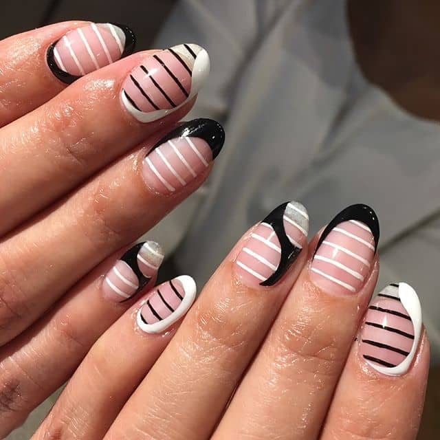 White and Black Stripes and Swirls