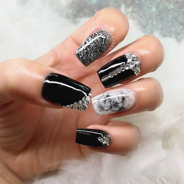 Bling Bling Black and White Nails