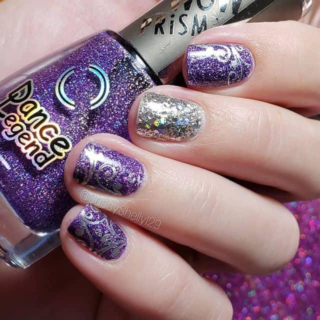 Fun Holographic Purple and Silver Glitter Polish