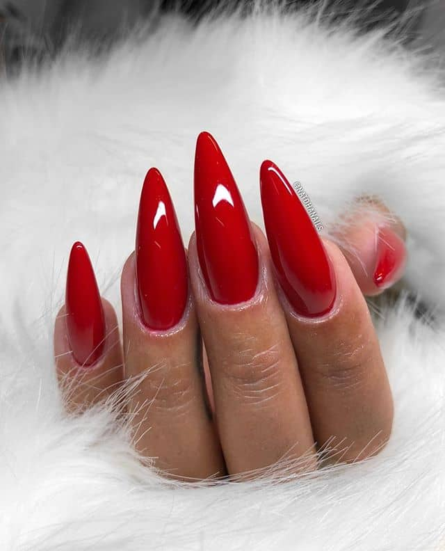 Shiny Solid Red Tampered Nails