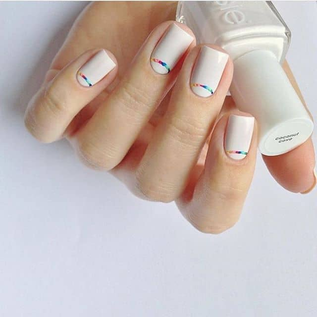 Bright White Nails with Mini Rainbow Arches
