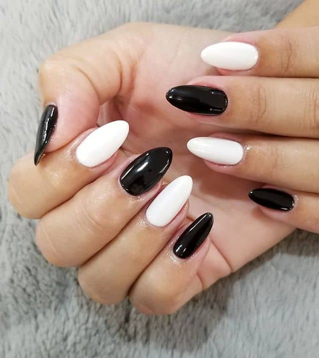 Alternating Black and White Nails