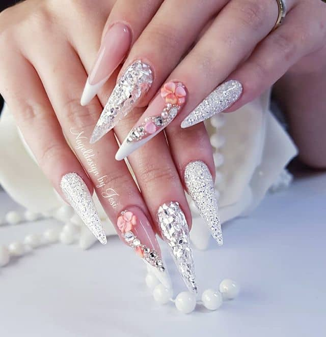 Pointed French Manicures with Hibiscus and Gems