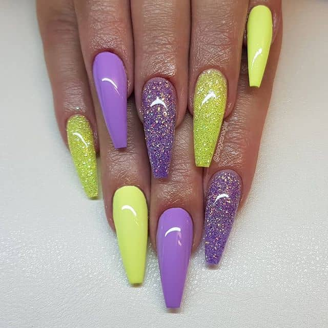 Ready-to-Party Sparkling Yellow and Purple Nail Art